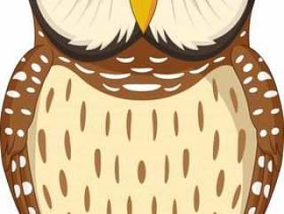 在白色背景隔绝的动画片猫头鹰