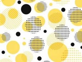 抽象现代黄色黑色光点图形
