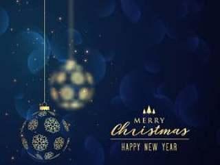 挂金色圣诞球蓝色背景