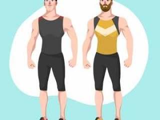 两人时髦的健身教练矢量字符图