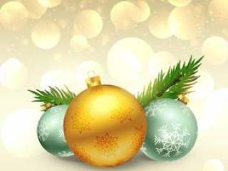 美丽的圣诞节节日问候与现实球