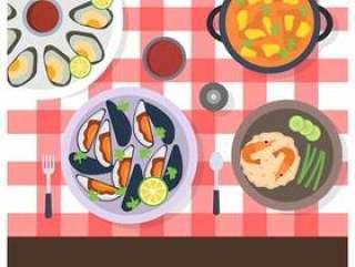 平顶视图扇贝和海鲜美食矢量图