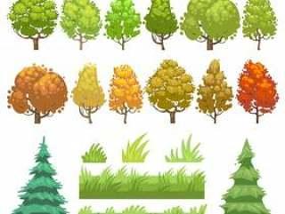 被设置的树和草平的传染媒介象