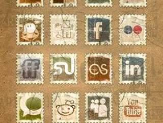 多款废旧邮票png图标素材