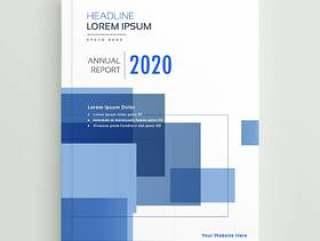 业务年度报告宣传册模板设计与蓝色的几何