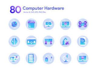 80计算机硬件图标集为Illustrator。,80计算机图标