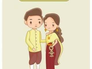 可爱的泰国情侣在传统服饰。
