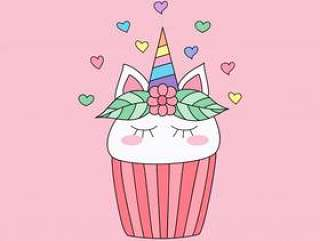 Cute cupcake unicorn cartoon hand drawn style.