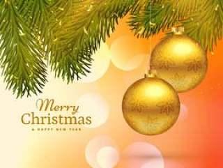 与垂悬的金子的美好的圣诞快乐圣诞节贺卡设计