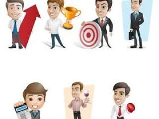 商业人士卡通形象—psd分层素材