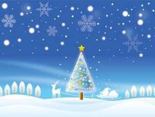 圣诞老人和树和一个下雪的夜晚