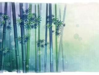 雨中竹林背景PSD分层素材