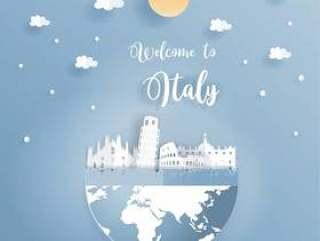 促进意大利的世界着名地标的明信片