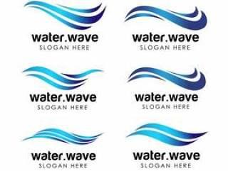 水行业标志和图标模板。流水徽标设计