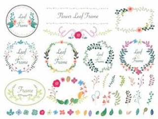 手写风格的花朵和叶子框架