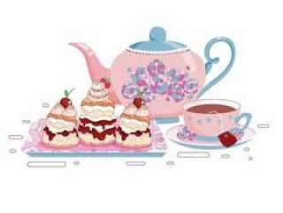 一套茶杯和烤饼矢量