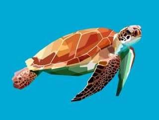 漂浮在水面下在蓝色背景中的乌龟