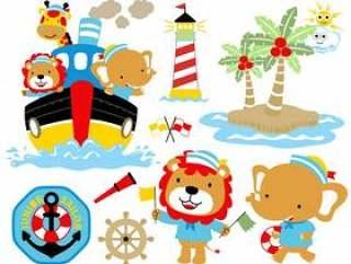 Vector illustration of sailing theme set cartoon.