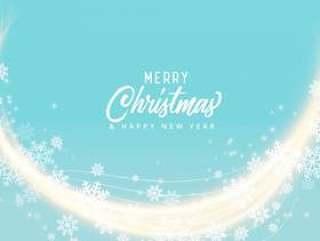 软蓝色雪花圣诞快乐圣诞背景设计