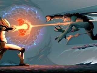 魔术师精灵和爬行动物怪物之间的战斗