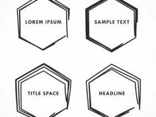 涂鸦和涂鸦风格的六角形框架