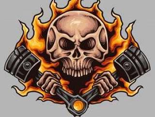 头骨和活塞摩托车纹身