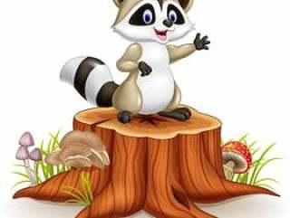 在树桩的动画片滑稽的浣熊挥动的手