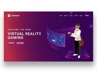 男孩戴着虚拟现实眼镜玩视频游戏矢量素材下载