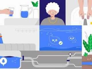 清洁的水和卫生更好的生活矢量平面插画