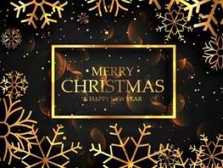 时尚金色雪花圣诞节巨星黑色背景上
