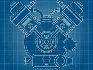 汽车引擎线描图背景