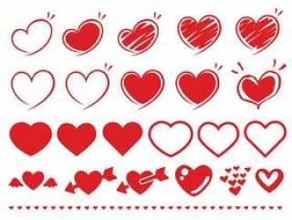 简单的心脏·手绘材料收藏集红色