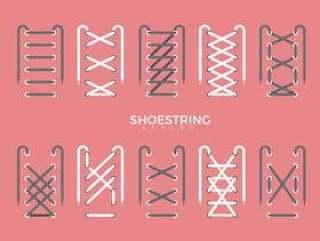 鞋带风格类型矢量平面插画