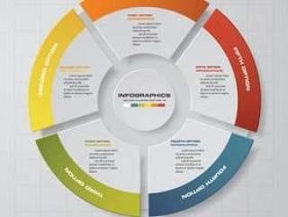 5步现代饼图PPT图表元素