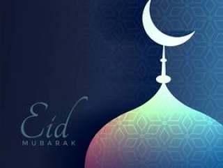 eid穆巴拉克问候与闪亮的清真寺和月亮