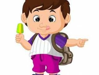 可爱的男孩抱着冰淇淋卡通