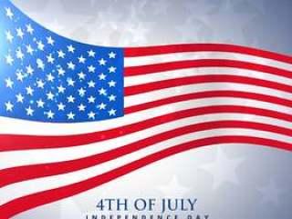 波浪风格的美国国旗