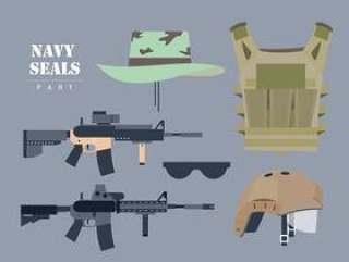 海军印章武器设置矢量平面插画