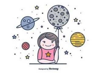 女孩和月亮矢量背景