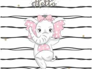 手拉逗人喜爱的小大象跳舞的动画片