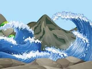 与大波浪的海洋场面在岩石