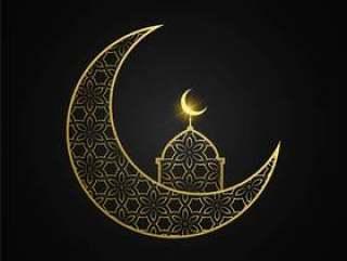 创意eid穆巴拉克月亮和清真寺设计