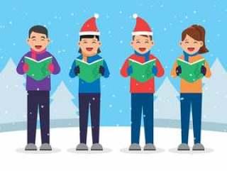 唱歌圣诞颂歌例证的孩子