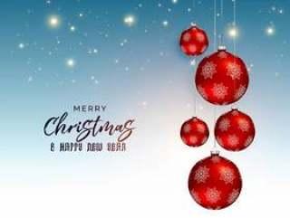 节日圣诞节问候设计与红色的吊球