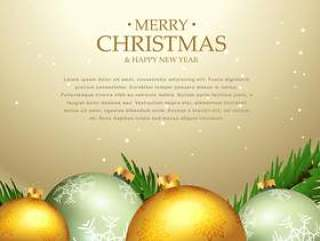 美丽的圣诞节节日贺卡设计与圣诞球