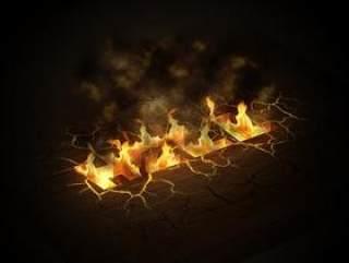 设计师BOZ-火焰地裂特效英文字体设计PSD分层