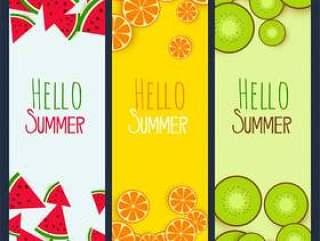 夏季水果垂直横幅设置