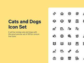 一套68只狗和猫相关的图标,用爱制作。猫和狗图标集