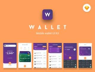 适用于Sketch。,钱包移动UI套件的超过30个屏幕的移动钱包UI工具包