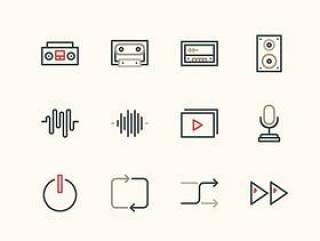 24 枚音乐线性图标